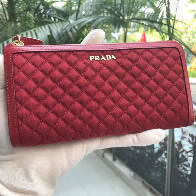 0f3f39c2ae76 ... clearance brand new100 authentic prada red tessuto quiltin long wallet  1ml183 luxury bags wallets on carousell