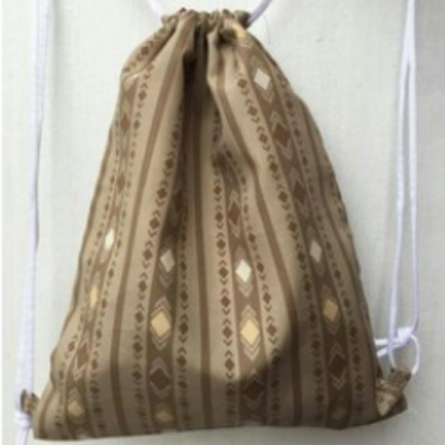 Brown Diamond Drawstring Bag