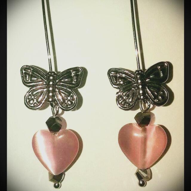 Butterfly Rose Quartz Heart Earring's