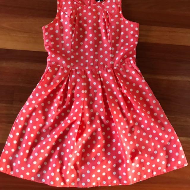 Caroline Morgan Polka Dot Size 10. Polka Dot Dress. Peach/salmon Colour Dress