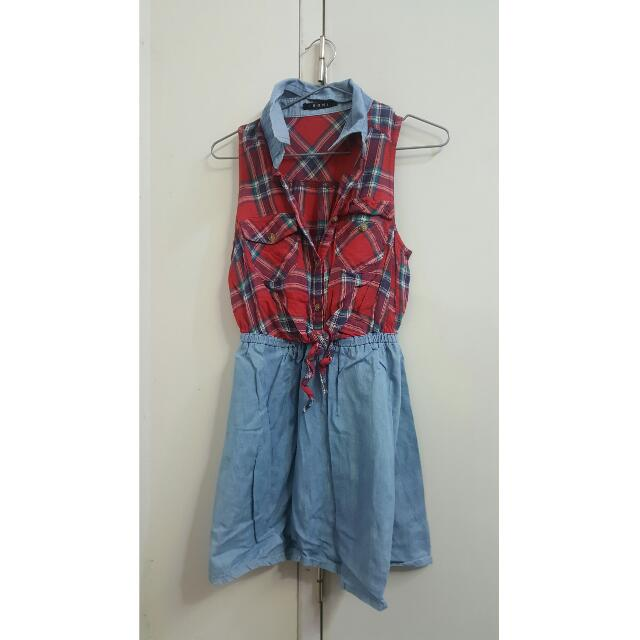 Casual Checkered Red And Blue Dress