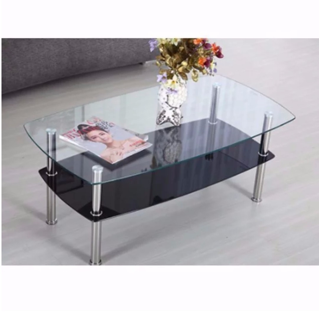 Cft022 2 Level Glass Coffee Table Tea Table Glass Table Tempered Glass Cft Furniture Home Living Furniture Tables Sets On Carousell [ 1080 x 1080 Pixel ]