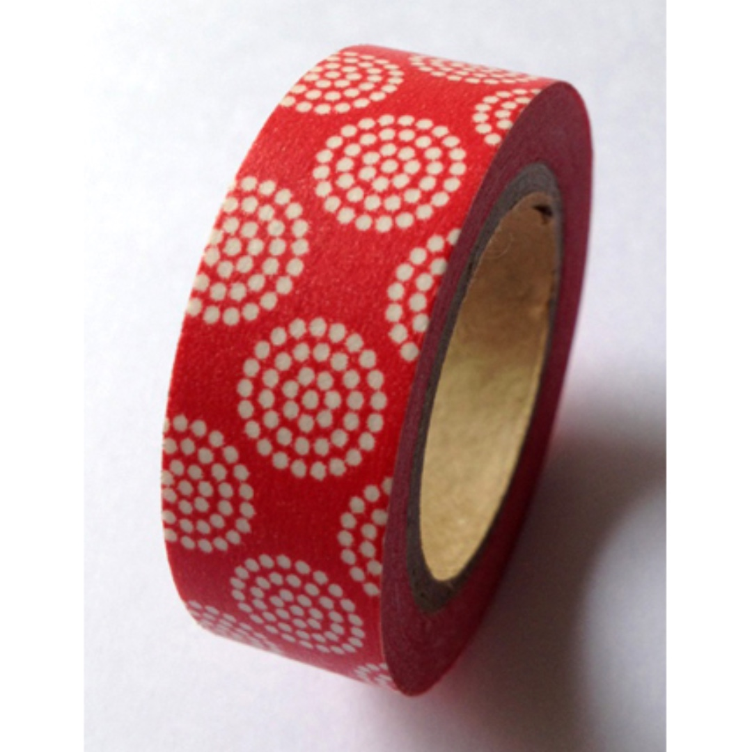 Circles of White Dots on Red WT-#1115 Washi Tape 15mm x 10m
