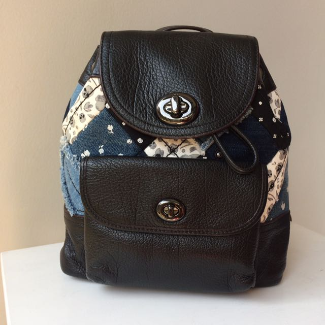 COACH Denim Patchwork Backpack Authentic Small Size Preloved