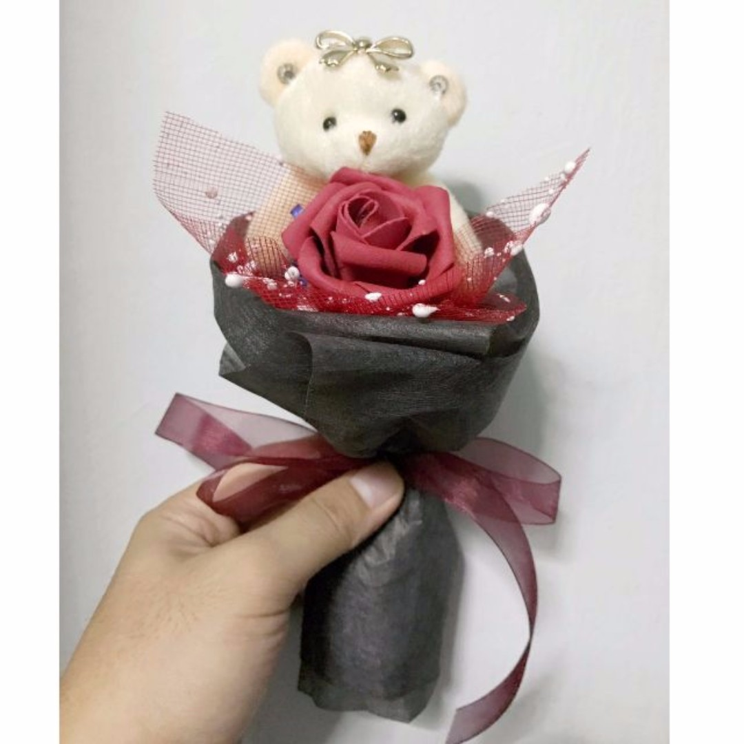 Cute Teddies Bear Plushie Red Roses Bouquet Flower for Gifts ...