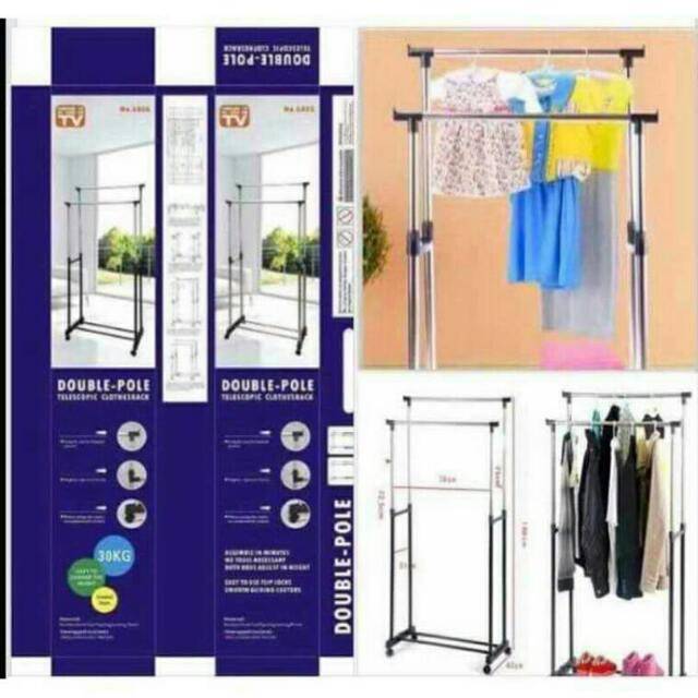 DIY Double Steenless Pole Clothes Rack