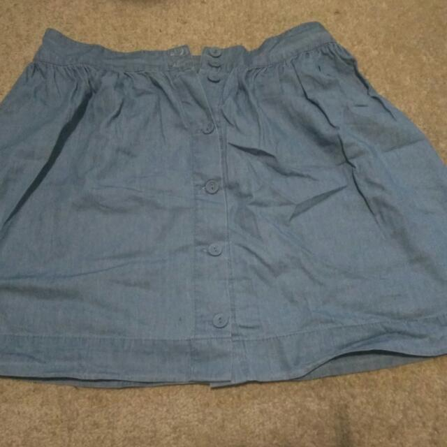 Factorie Cotton (Denim look alike) Button Through Skirt