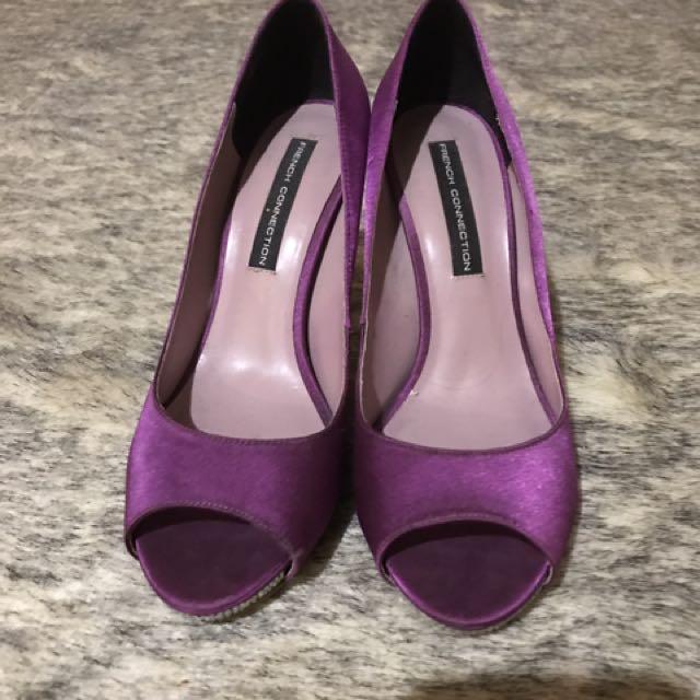 French Connection Purple Peep Toe Heels