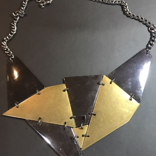 Geometric Silver And Gold Necklace