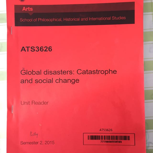 Global Disasters: Catastrophe And Social Change