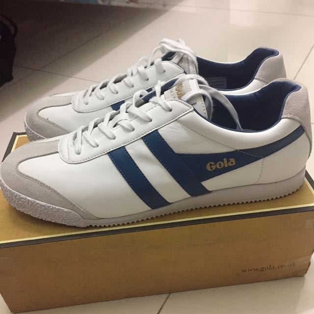 Gola Harrier Leather White/Ocean Blue