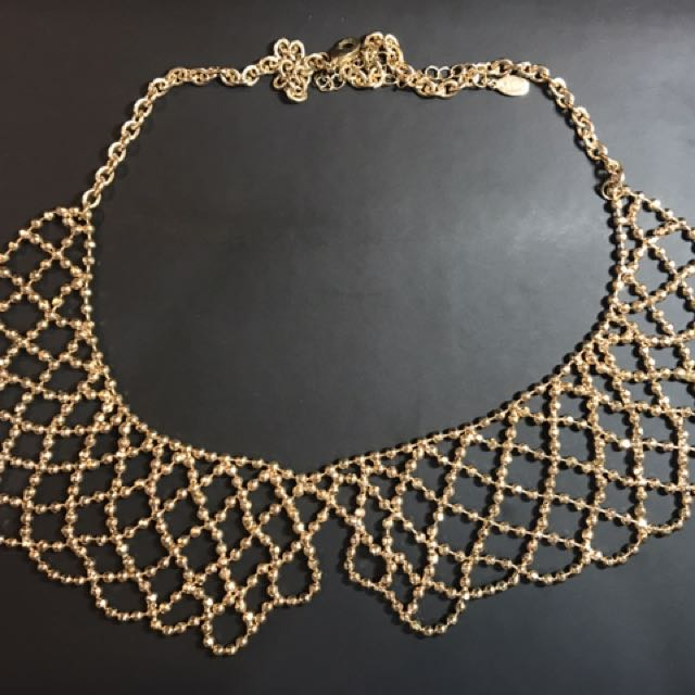 Gold Beaded Collared Necklace