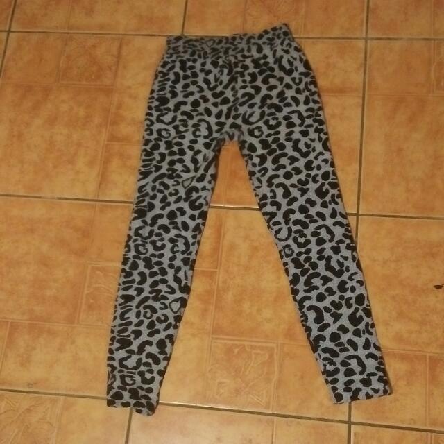 Gray and Black Leopard leggings
