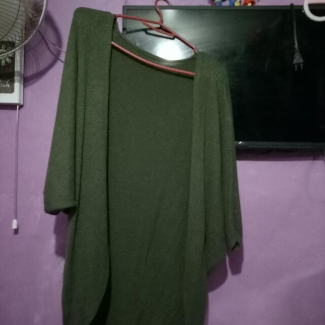 Green Cardigan Stretchable