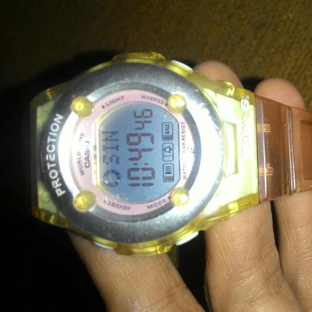 jam tangan baby G for girls warna soft baby pink....