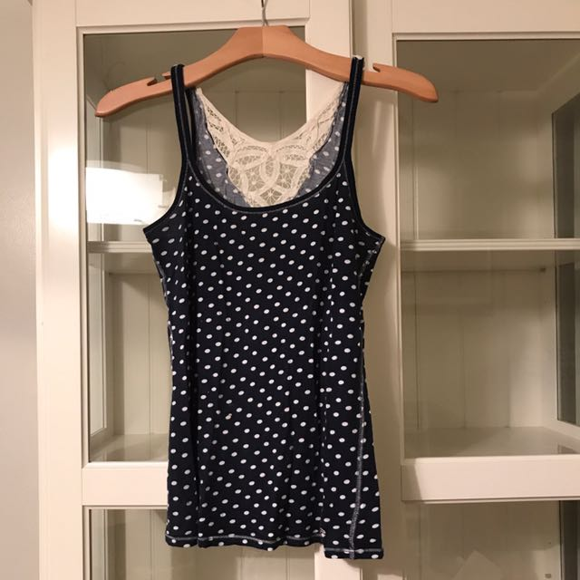 Lace And Polka Dot Navy Blue Hollister Tank Top