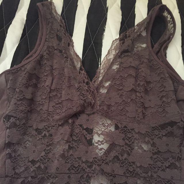 Lace Bodysuitt In Deep Lavender