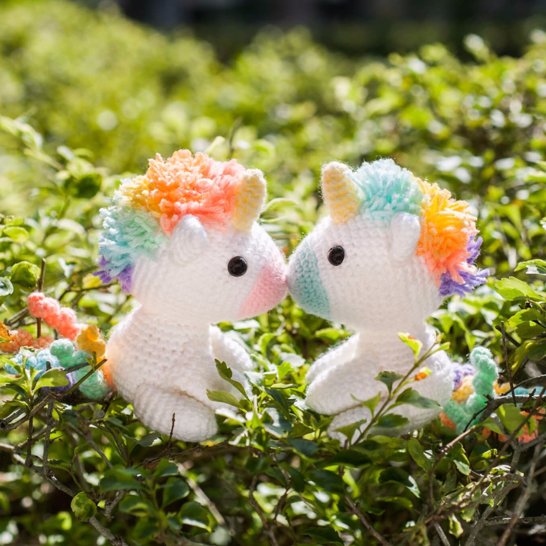 Lazy Rainbow Unicorn Amigurumi (Sitting)