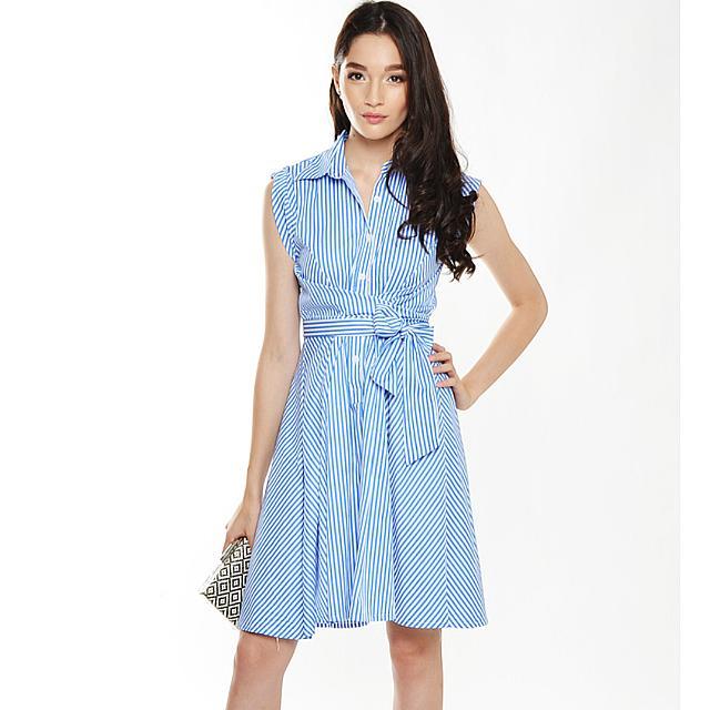 L&B Long Island Stripe Tie Wasit Dress In Blue