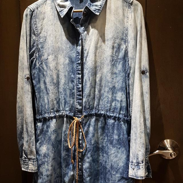 Life In Progress (by Forever21) Cloud Wash Chambray Shirtdress