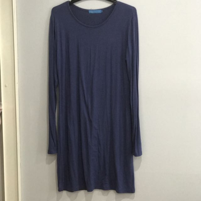 Long Blue Cotton Jersey Top