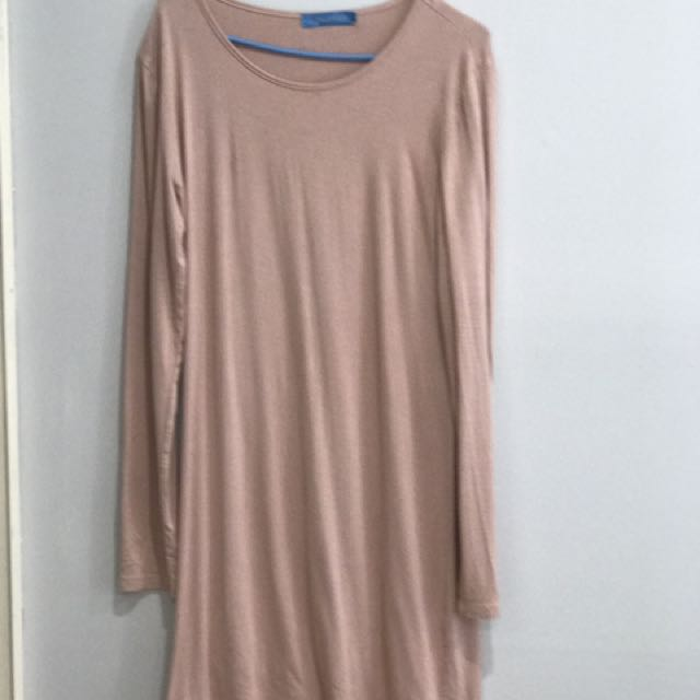 Long Dusty Pink Cotton Jersey Top