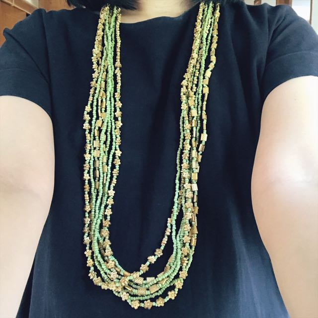 Gold & Green Long Necklace