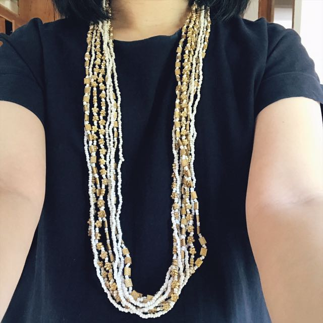 Gold & White Long Necklace