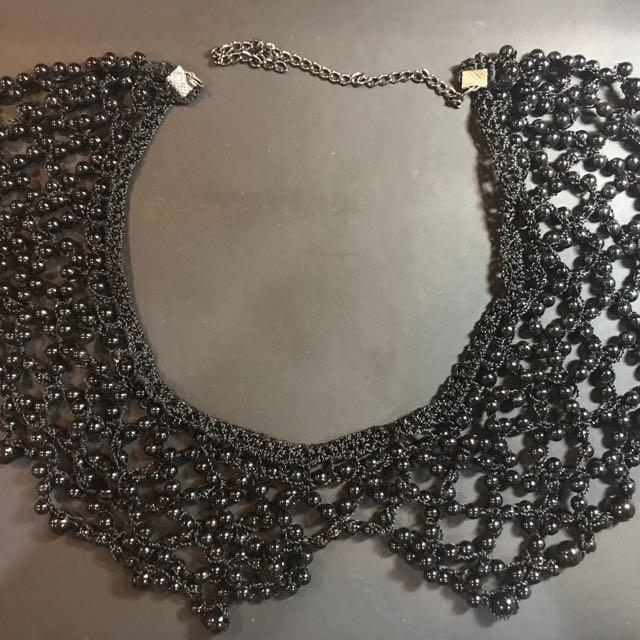 Mesh Black Beaded Collar Necklace