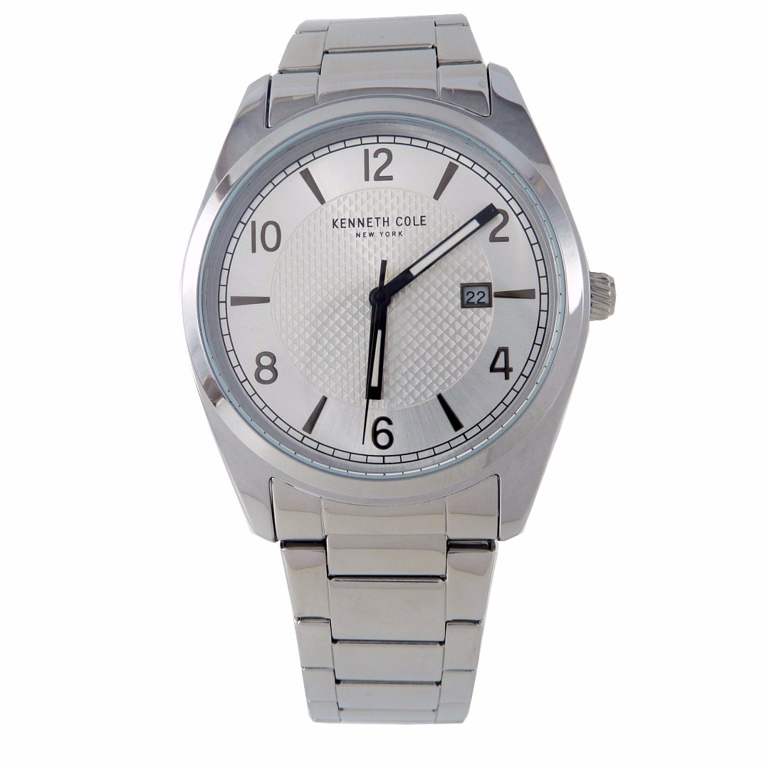 NEW AND AUTHENTIC KENNETH COLE 10031331 STAINLESS STEEL WHITE WHITE DIAL