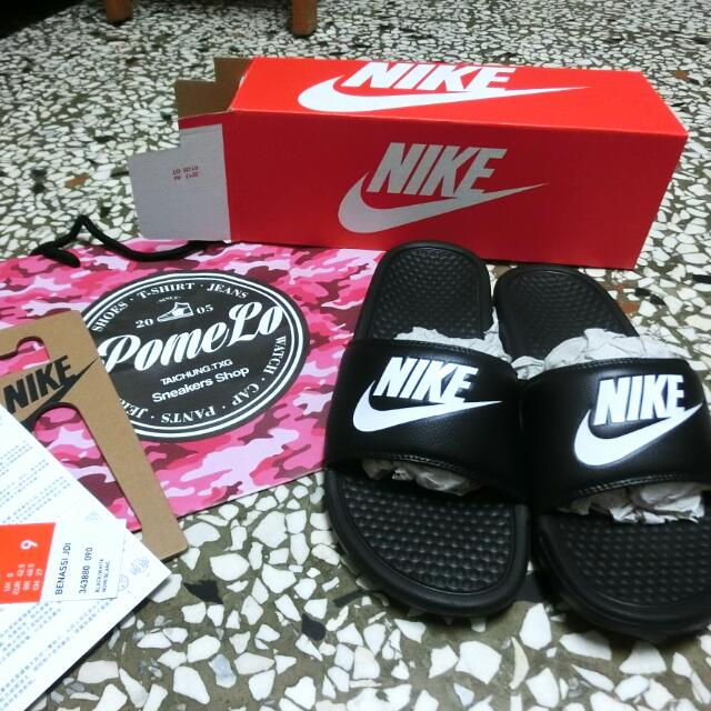 限時!! Nike 黑底白字拖鞋(含運)