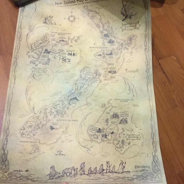 Original Wetaworks New Zealand Map Of Middle Earth Lord Of The