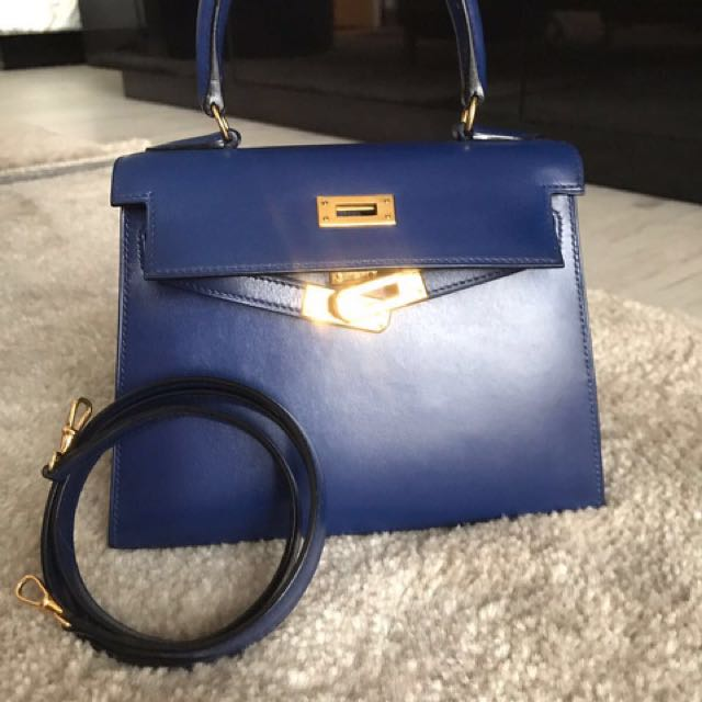 bf61db805367a RARE Hermes Kelly 20 Blue Sapphire GHW, Luxury, Bags & Wallets on Carousell