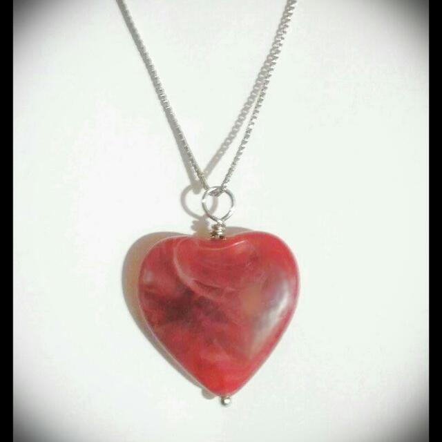 Red Jade Heart Shape Pendant Necklace