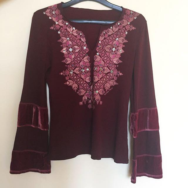 Red/Burgundy Long Sleeve Top