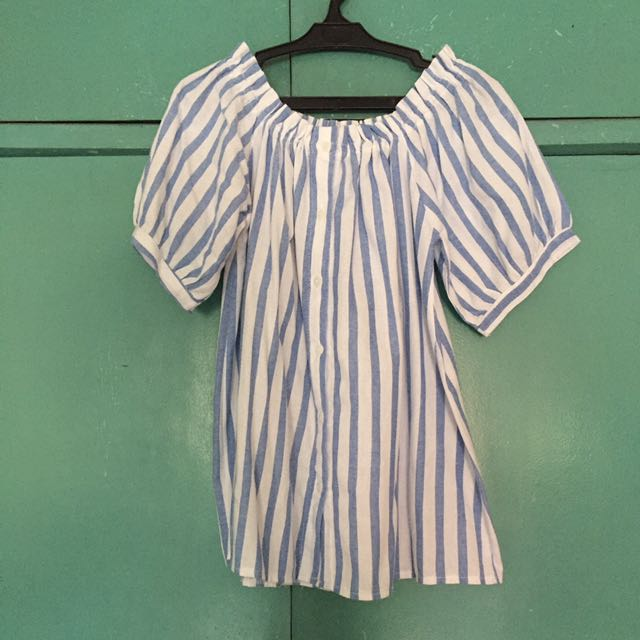 Striped Blue And White Off Shoulder