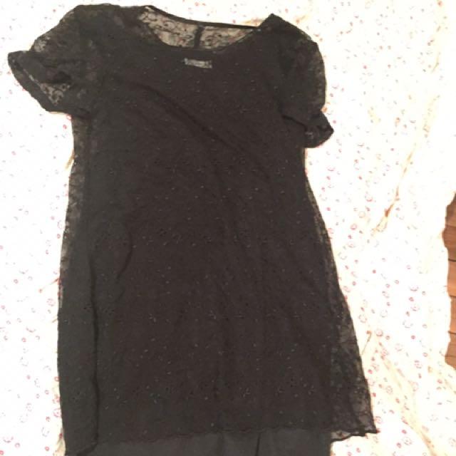 Sz 10 Lace & Slip Vintage Shift Dress