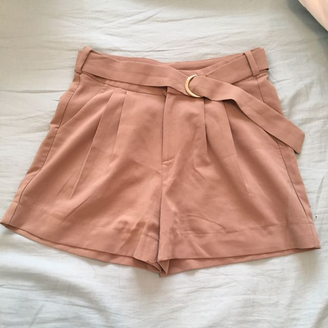 Tan Camel D-ring High waisted Shorts