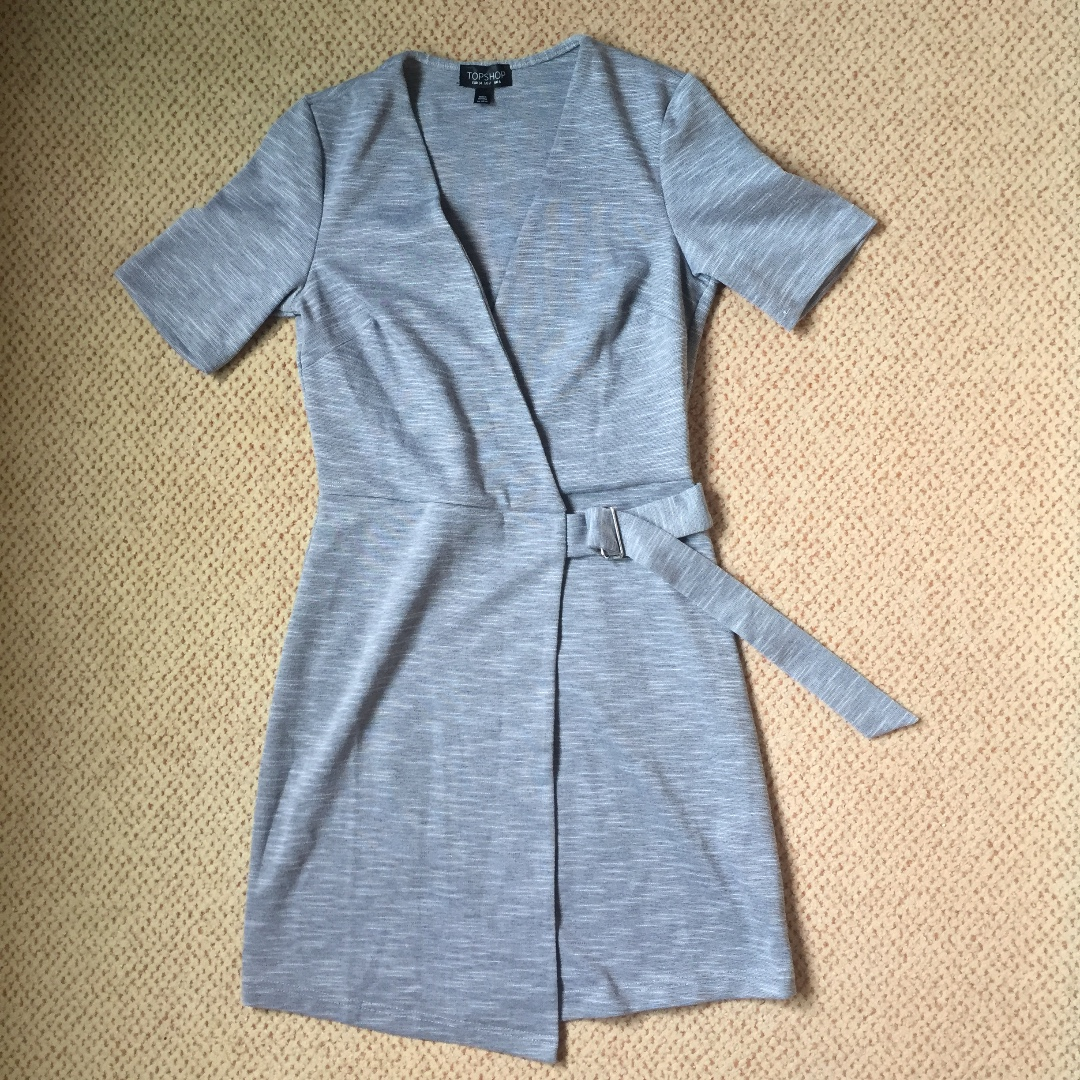 Topshop Grey Wrap Dress