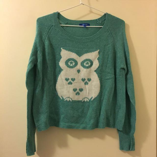 Valleygirl Green Owl Sweater