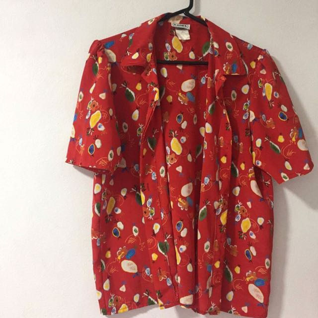 Vintage Printed Button Up