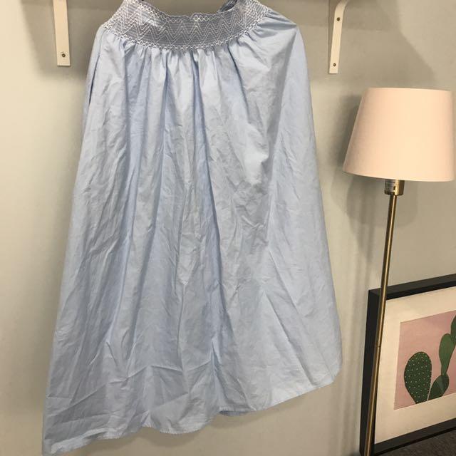 Zara 夏日 粉藍 鬆緊 長裙