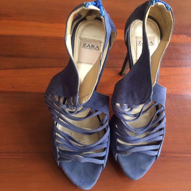 Zara Heels Blue Shoes 36