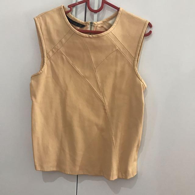 Zara Leather Sleeveless Top