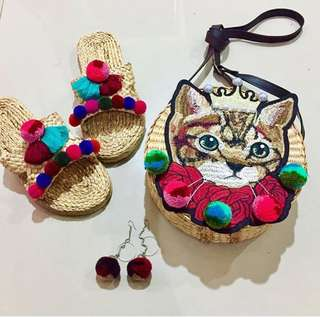 泰國設計師 手工製作皇冠刺繡貓咪藤編肩背包 (現貨,售完不追)