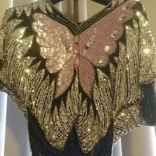 Luxe Sequin/ Bead Embellished Silk Dress Top