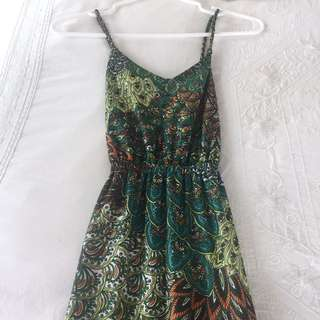 Tropical Green Maxi Boho Dress (size Small, Would Fit XS)