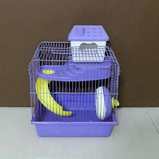 Hamster Cage in Purple and Yellow Color