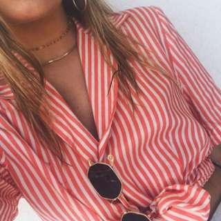 Vintage Stripe Button Up Shirt