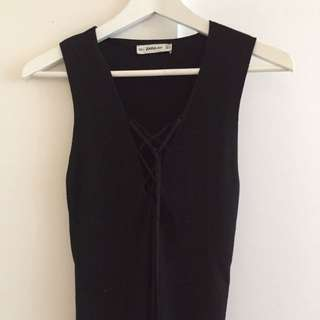 Zara Black Tie Up Tank